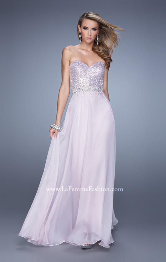 Picture of: Sequined Bodice Long Chiffon Prom Dress, Style: 20985, Detail Picture 3