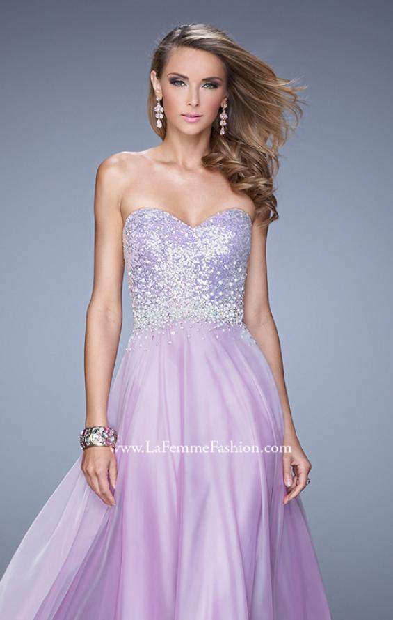 Picture of: Sequined Bodice Long Chiffon Prom Dress, Style: 20985, Detail Picture 5