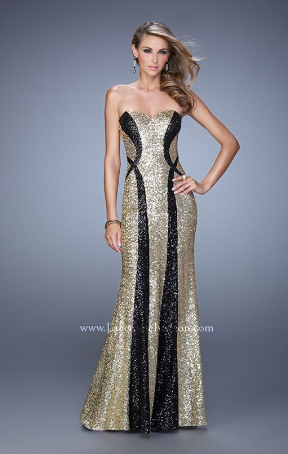 Picture of: Floor Length Strapless Gown with Pearls and Sequins in Gold Black, Style: 20987, Main Picture