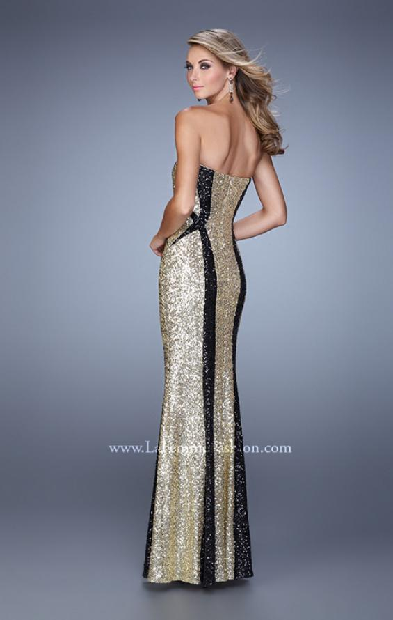 Picture of: Floor Length Strapless Gown with Pearls and Sequins in Gold Black, Style: 20987, Back Picture