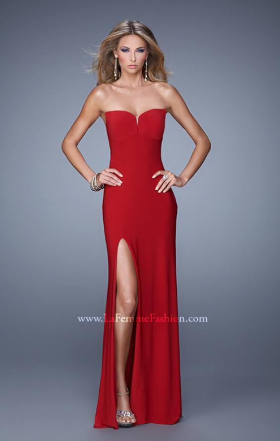Picture of: Strapless Prom Dress with Crisscrossed Back Straps in Red, Style: 20993, Main Picture