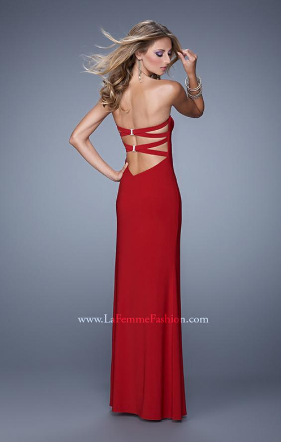 Picture of: Strapless Prom Dress with Crisscrossed Back Straps in Red, Style: 20993, Back Picture