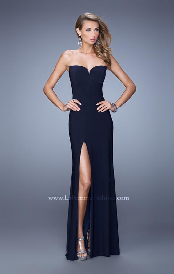 Picture of: Strapless Prom Dress with Crisscrossed Back Straps in Navy, Style: 20993, Detail Picture 2