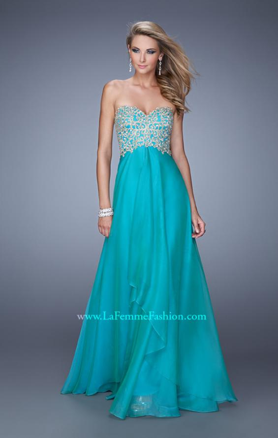 Picture of: Strapless Chiffon Gown with Tiered Skirt and Beading in Aqua, Style: 20994, Main Picture