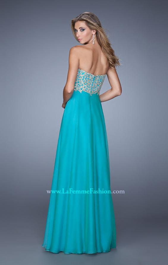 Picture of: Strapless Chiffon Gown with Tiered Skirt and Beading in Aqua, Style: 20994, Back Picture