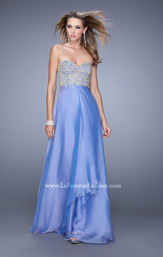 Picture of: Strapless Chiffon Gown with Tiered Skirt and Beading in Purple, Style: 20994, Detail Picture 1