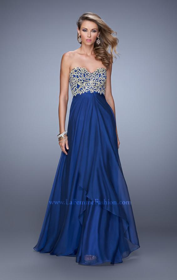 Picture of: Strapless Chiffon Gown with Tiered Skirt and Beading in Navy, Style: 20994, Detail Picture 2