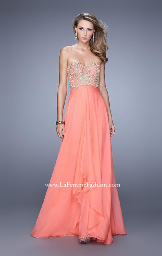 Picture of: Strapless Chiffon Gown with Tiered Skirt and Beading in Peach, Style: 20994, Detail Picture 3