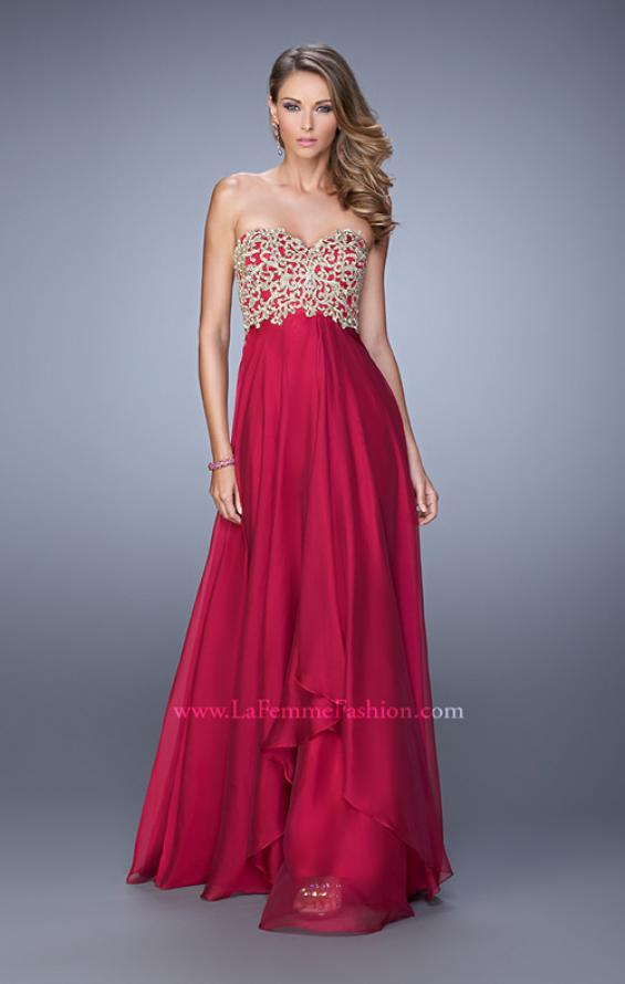 Picture of: Strapless Chiffon Gown with Tiered Skirt and Beading in Red, Style: 20994, Detail Picture 4
