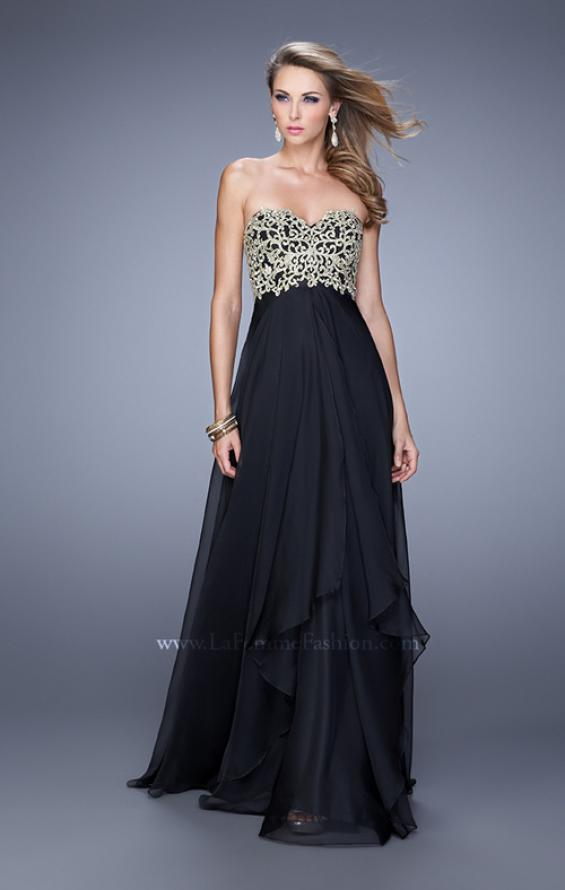 Picture of: Strapless Chiffon Gown with Tiered Skirt and Beading in Black, Style: 20994, Detail Picture 5