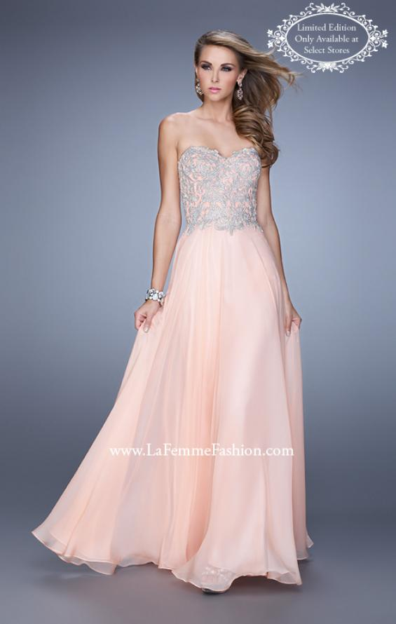 Picture of: Strapless Prom Gown with Shimmery Embroidery in Pink, Style: 21002, Main Picture