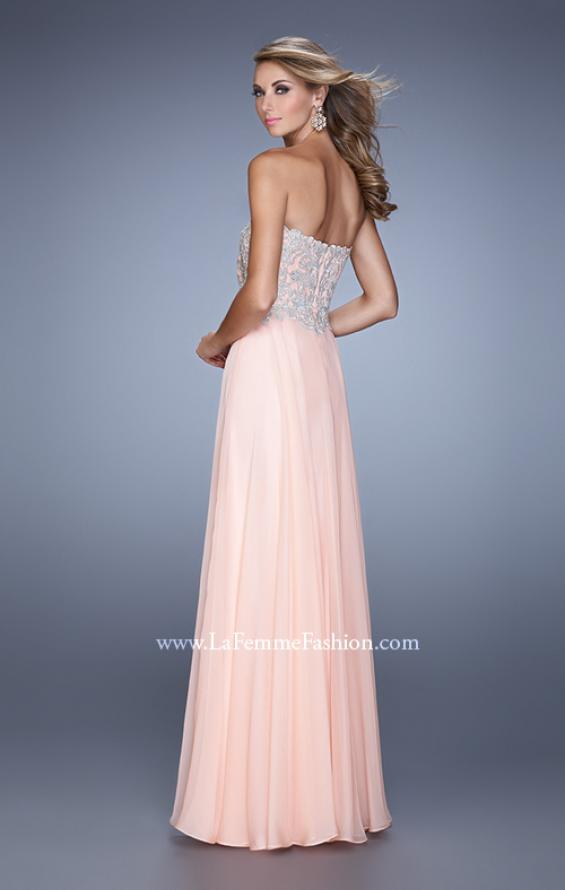 Picture of: Strapless Prom Gown with Shimmery Embroidery in Pink, Style: 21002, Back Picture