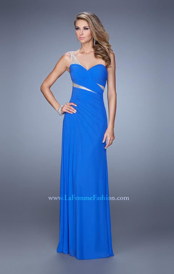 Picture of: One Shoulder Prom Dress with Cut Outs and Rhinestones in Blue, Style: 21011, Main Picture