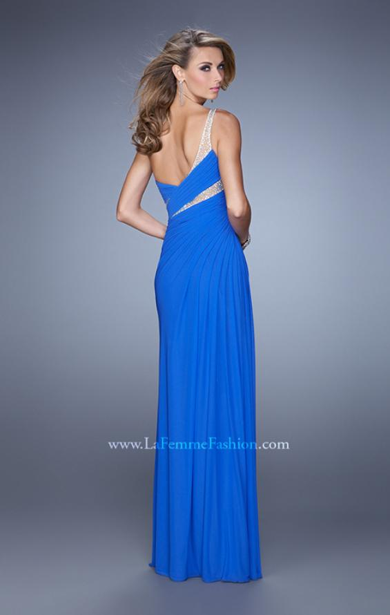 Picture of: One Shoulder Prom Dress with Cut Outs and Rhinestones in Blue, Style: 21011, Back Picture