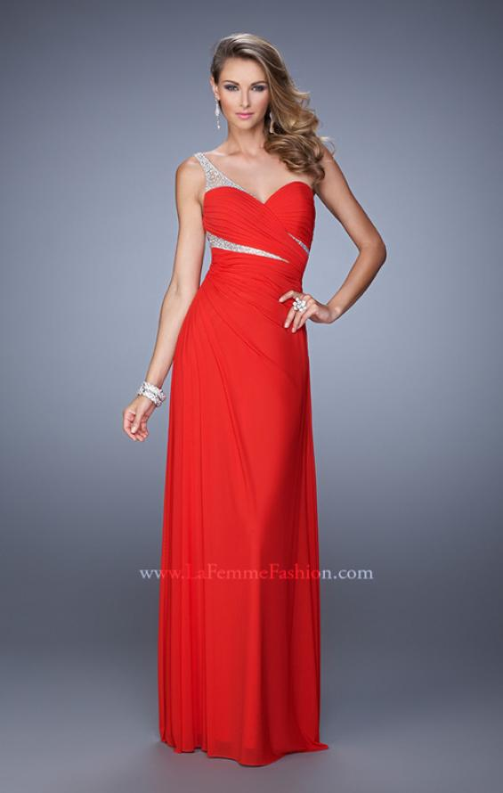 Picture of: One Shoulder Prom Dress with Cut Outs and Rhinestones in Red, Style: 21011, Detail Picture 1