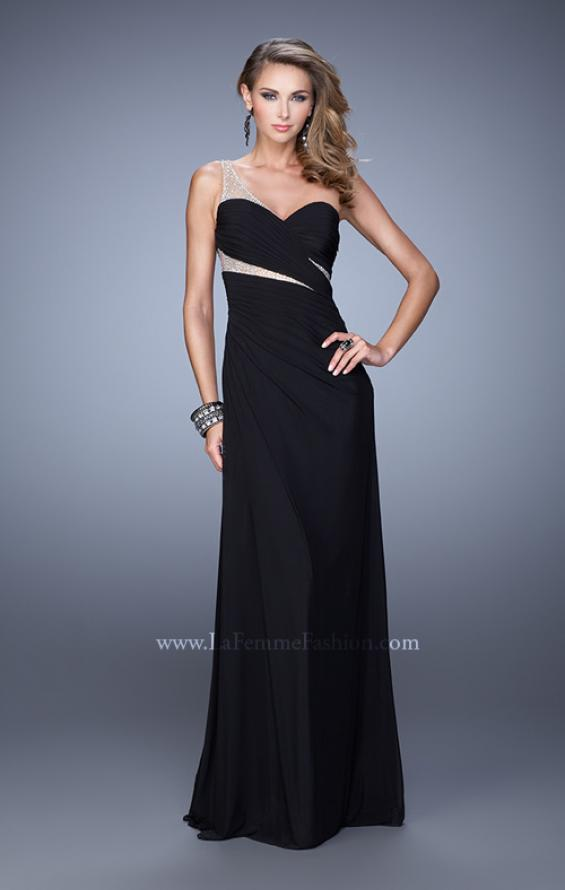 Picture of: One Shoulder Prom Dress with Cut Outs and Rhinestones in Black, Style: 21011, Detail Picture 2
