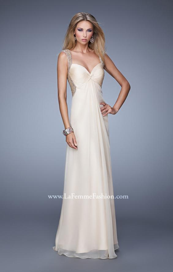 Picture of: Long Chiffon Gown with Knotted Bust and Beading in Nude, Style: 21012, Main Picture