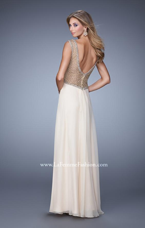 Picture of: Long Chiffon Gown with Knotted Bust and Beading in Nude, Style: 21012, Back Picture