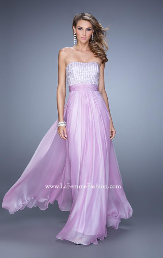 Picture of: Gathered Waistband Long Prom Dress with Crystal Beads in Wisteria, Style: 21015, Main Picture