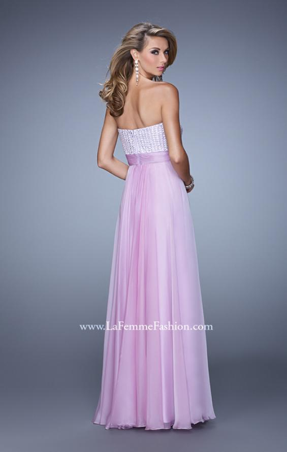 Picture of: Gathered Waistband Long Prom Dress with Crystal Beads in Wisteria, Style: 21015, Back Picture
