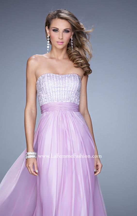 Picture of: Gathered Waistband Long Prom Dress with Crystal Beads in Wisteria, Style: 21015, Detail Picture 1