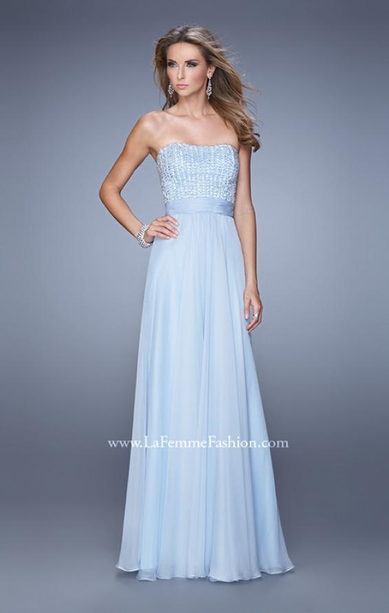 Picture of: Gathered Waistband Long Prom Dress with Crystal Beads in Blue, Style: 21015, Detail Picture 2