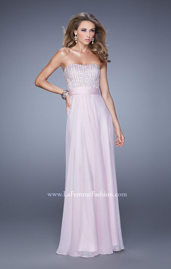 Picture of: Gathered Waistband Long Prom Dress with Crystal Beads in Pink, Style: 21015, Detail Picture 3
