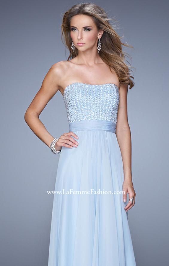 Picture of: Gathered Waistband Long Prom Dress with Crystal Beads in Blue, Style: 21015, Detail Picture 4