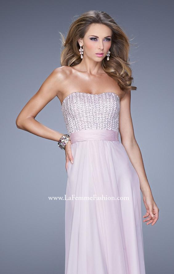Picture of: Gathered Waistband Long Prom Dress with Crystal Beads in Pink, Style: 21015, Detail Picture 5