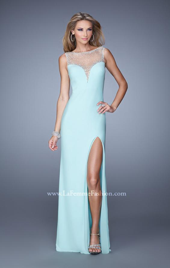 Picture of: Deep V Jersey Dress with Sheer Illusion Netting in Aqua, Style: 21020, Main Picture