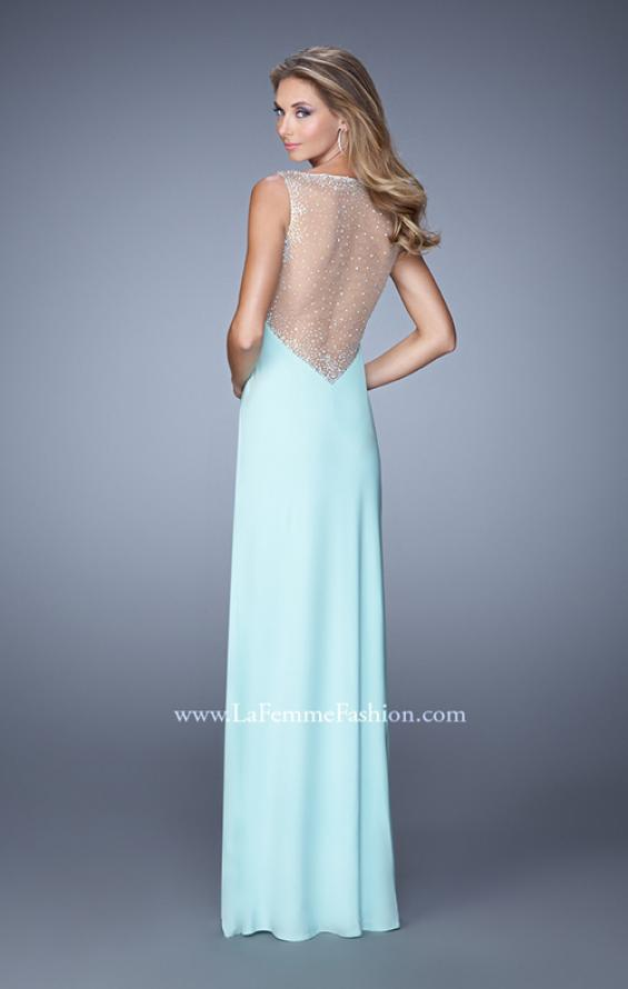 Picture of: Deep V Jersey Dress with Sheer Illusion Netting in Aqua, Style: 21020, Back Picture