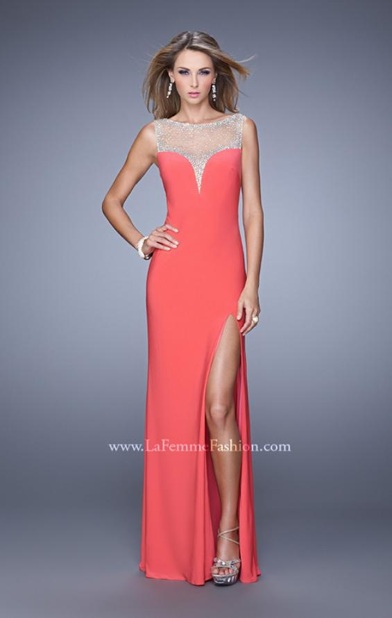 Picture of: Deep V Jersey Dress with Sheer Illusion Netting in Coral, Style: 21020, Detail Picture 1