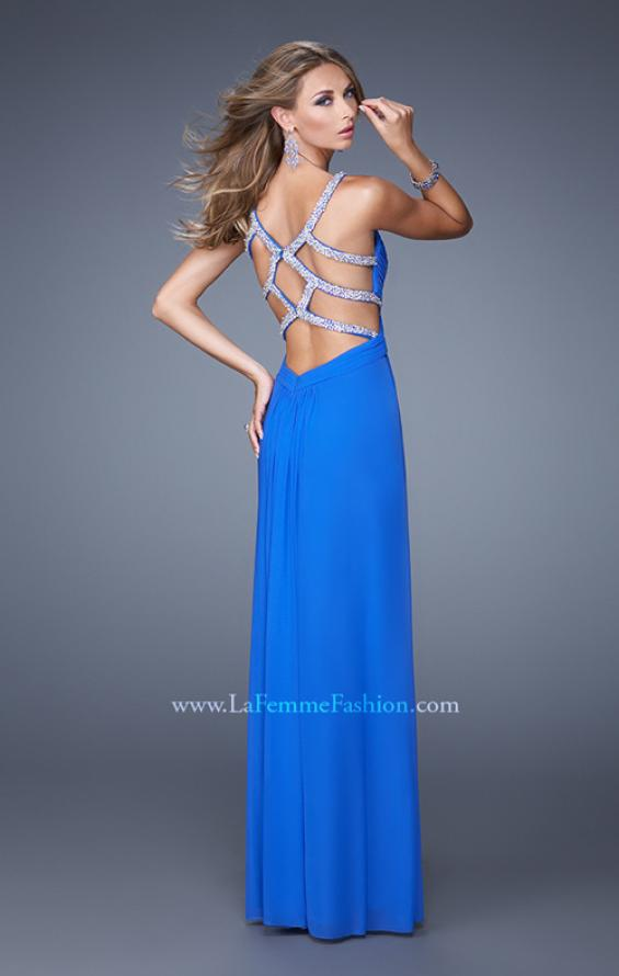 Picture of: Long Prom Dress with Beaded Straps and Cut Out Back in Blue, Style: 21021, Main Picture