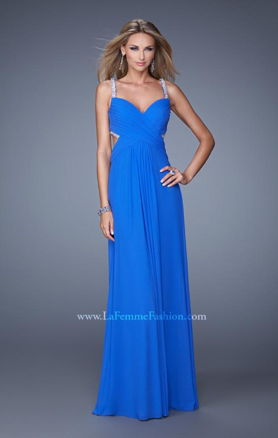 Picture of: Long Prom Dress with Beaded Straps and Cut Out Back in Blue, Style: 21021, Back Picture
