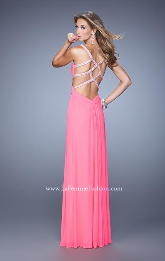 Picture of: Long Prom Dress with Beaded Straps and Cut Out Back in Pink, Style: 21021, Detail Picture 1