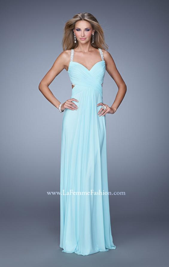 Picture of: Long Prom Dress with Beaded Straps and Cut Out Back in Aqua, Style: 21021, Detail Picture 2