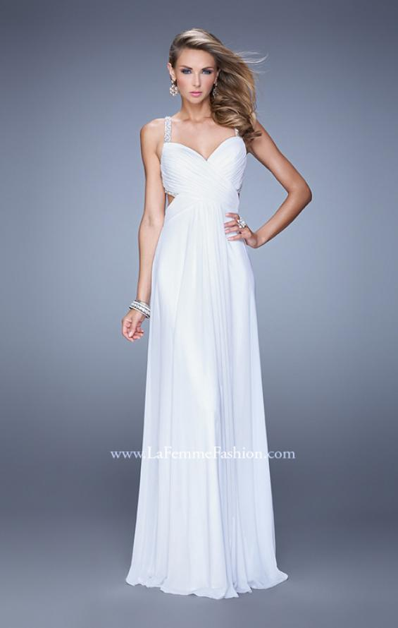 Picture of: Long Prom Dress with Beaded Straps and Cut Out Back in White, Style: 21021, Detail Picture 3