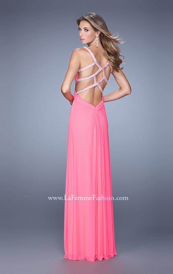 Picture of: Long Prom Dress with Beaded Straps and Cut Out Back in Pink, Style: 21021, Detail Picture 5
