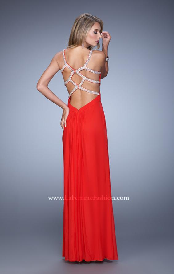 Picture of: Long Prom Dress with Beaded Straps and Cut Out Back in Red, Style: 21021, Detail Picture 6