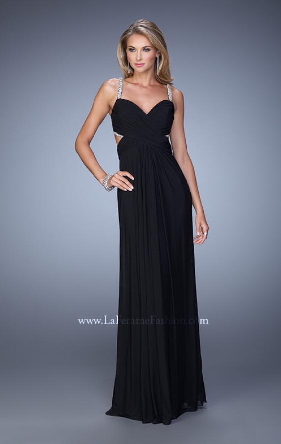 Picture of: Long Prom Dress with Beaded Straps and Cut Out Back in Black, Style: 21021, Detail Picture 7
