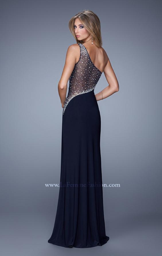 Picture of: Long One Shoulder Prom Dress with Iridescent Stones in Black, Style: 21026, Back Picture