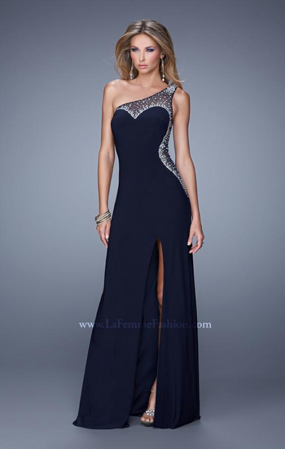 Picture of: Long One Shoulder Prom Dress with Iridescent Stones in Black, Style: 21026, Detail Picture 1