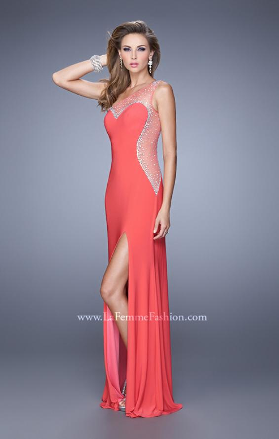 Picture of: Long One Shoulder Prom Dress with Iridescent Stones in Coral, Style: 21026, Detail Picture 2