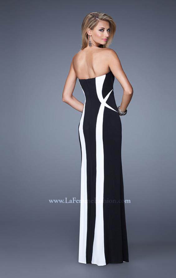 Picture of: Floor Length Prom Gown with Pearl Accents in Black White, Style: 21028, Back Picture