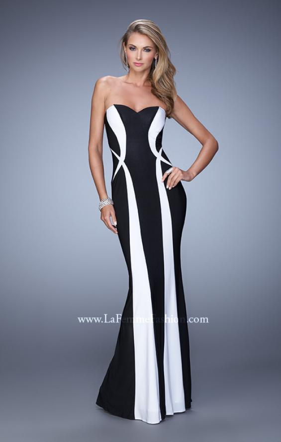Picture of: Floor Length Prom Gown with Pearl Accents in Black White, Style: 21028, Detail Picture 1