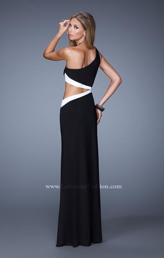 Picture of: Bold One Shoulder Prom Dress with Contrasting Trim in Black, Style: 21029, Back Picture