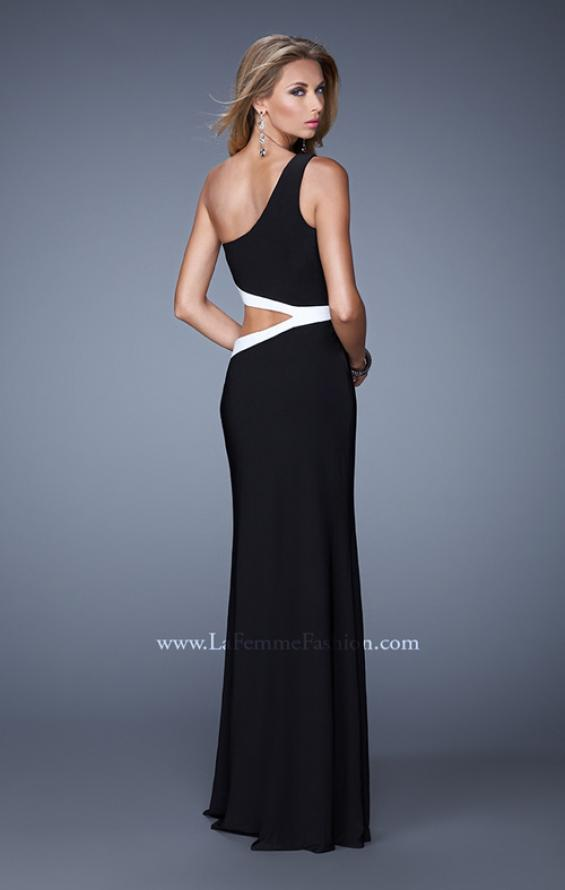 Picture of: Bold One Shoulder Prom Dress with Contrasting Trim in Black, Style: 21029, Detail Picture 1