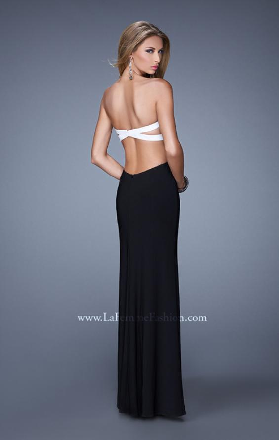 Picture of: Chic Jersey Prom Dress with Contrasting Back Straps in Black, Style: 21031, Back Picture