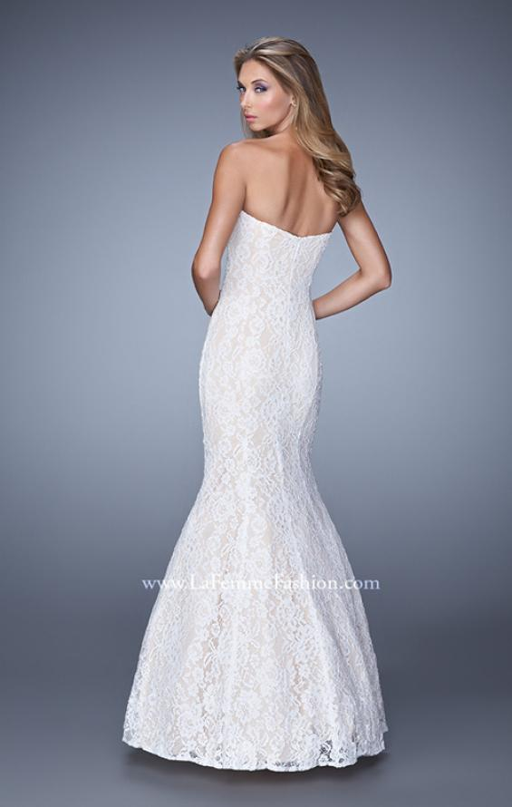 Picture of: Long Lace Mermaid Gown with Pearls and Rhinestones, Style: 21034, Back Picture