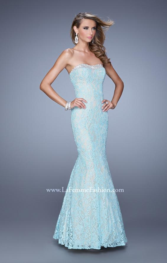 Picture of: Long Lace Mermaid Gown with Pearls and Rhinestones, Style: 21034, Detail Picture 1
